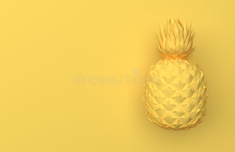Één gele die ananas op een gele achtergrond met ruimte voor tekst wordt geïsoleerd Tropisch Exotisch Fruit Front View het 3d teru royalty-vrije illustratie