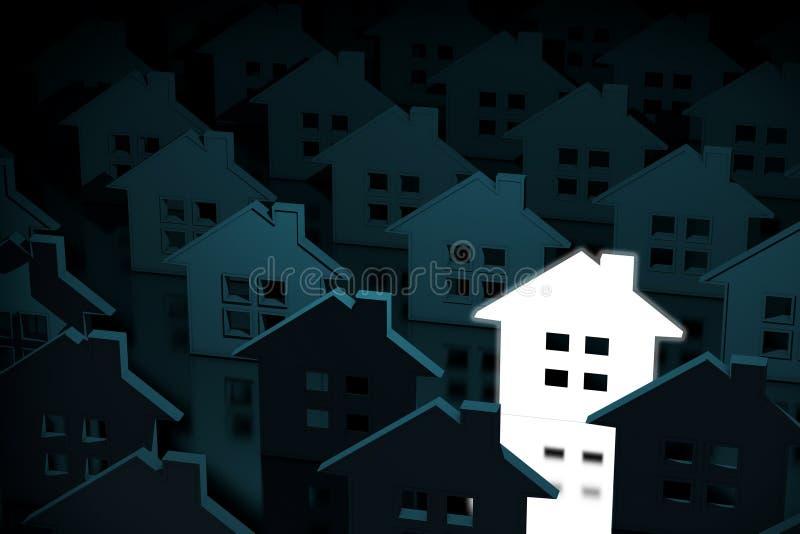 Één gloeiend Licht Huispictogram onder Rijen van Huispictogrammen 3D rende stock illustratie