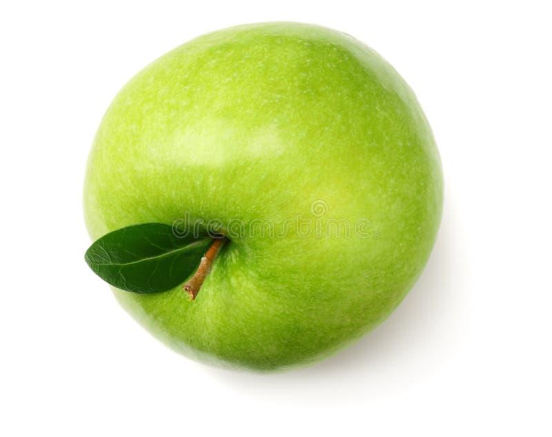 Één groene die appel op witte achtergrond wordt geïsoleerd Hoogste mening royalty-vrije stock afbeelding