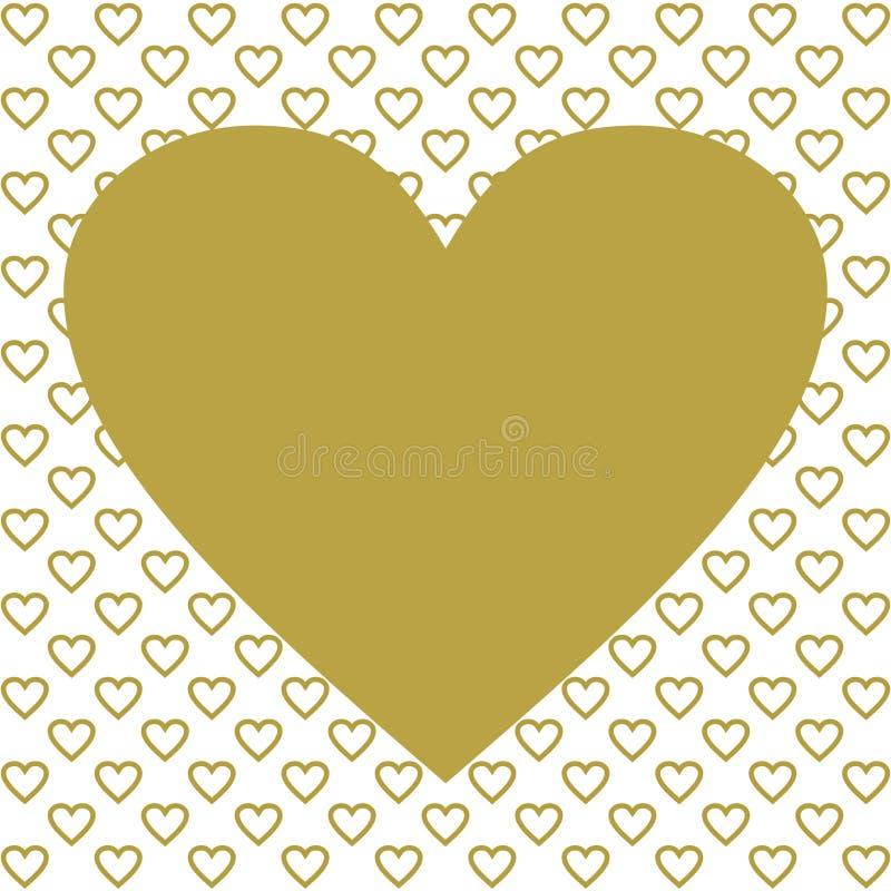 Één groot gouden hart op vele gouden harten royalty-vrije illustratie