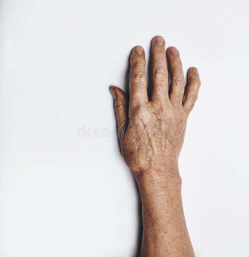 Één hand van een bejaarde stock foto's