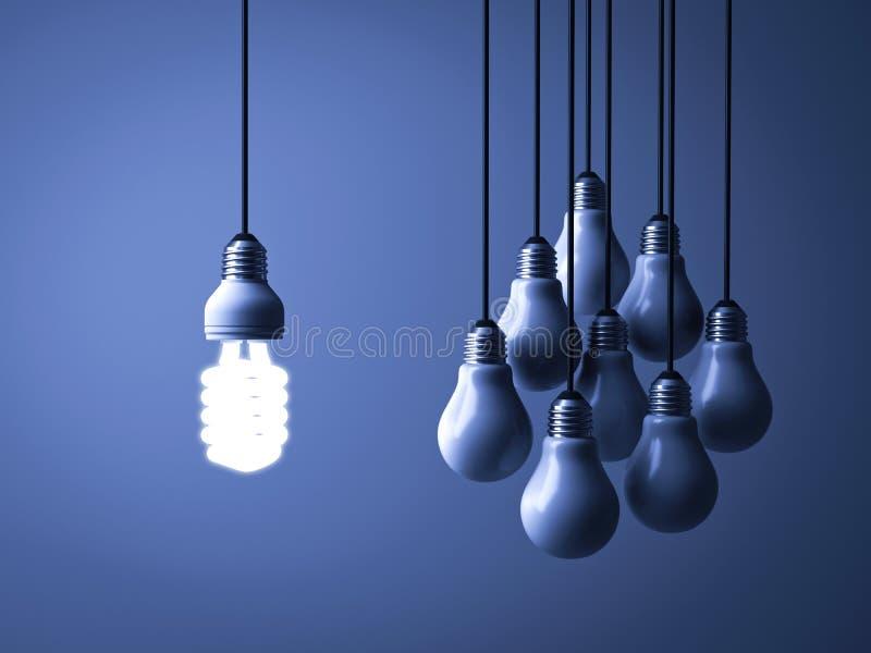 Één hangende ecoenergie - en besparings gloeilamp die geïsoleerd van unlit gloeiende bollen op donkerblauwe achtergrond gloeien d royalty-vrije illustratie