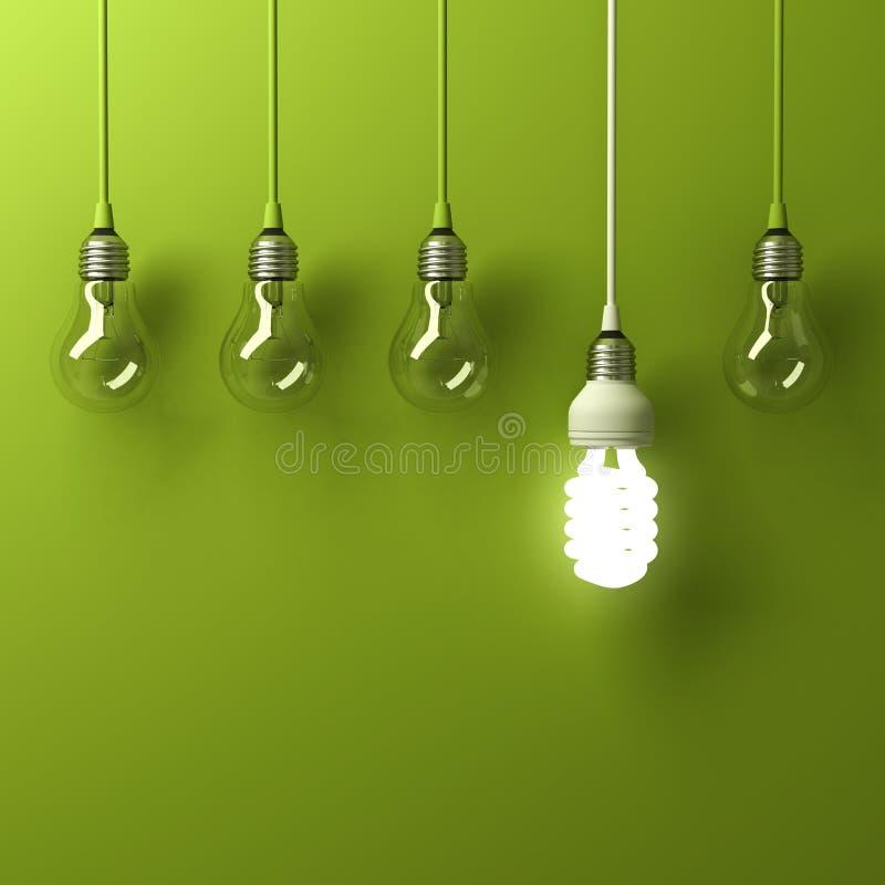 Één hangende energie - besparings gloeilamp het gloeien het verschillende duidelijk uitkomen van unlit gloeiende bollen stock illustratie