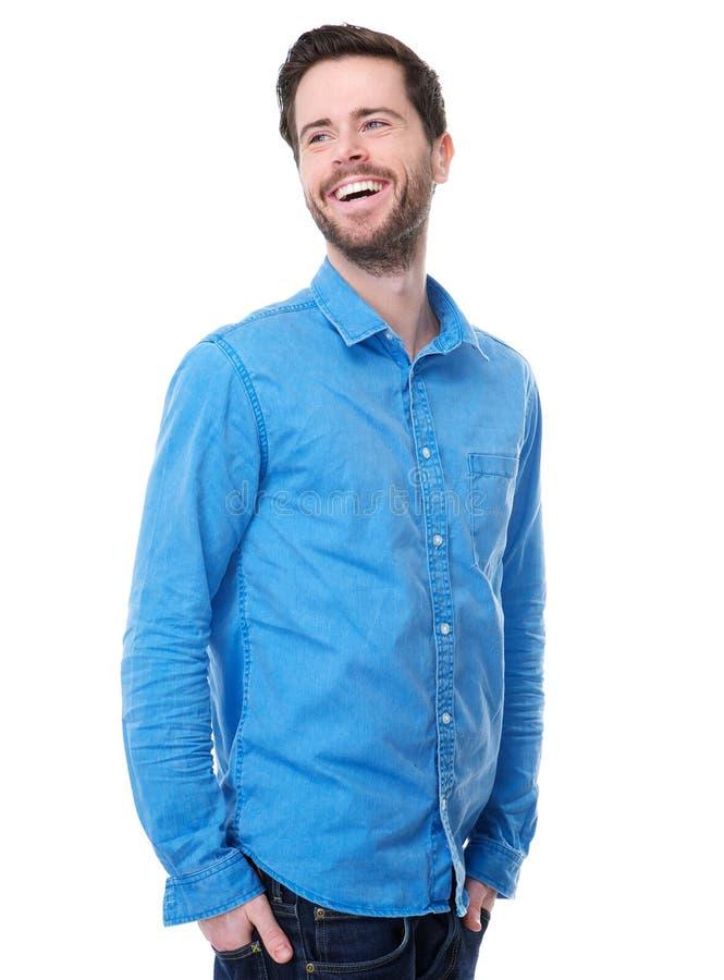 Één het gelukkige jonge mannelijke mannequin lachen royalty-vrije stock afbeeldingen