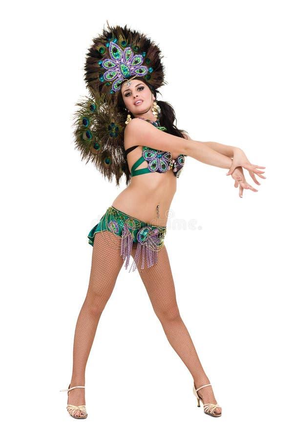 Één het Kaukasische de danser van de vrouwensamba dansen geïsoleerd op wit in volledige lengte royalty-vrije stock foto's