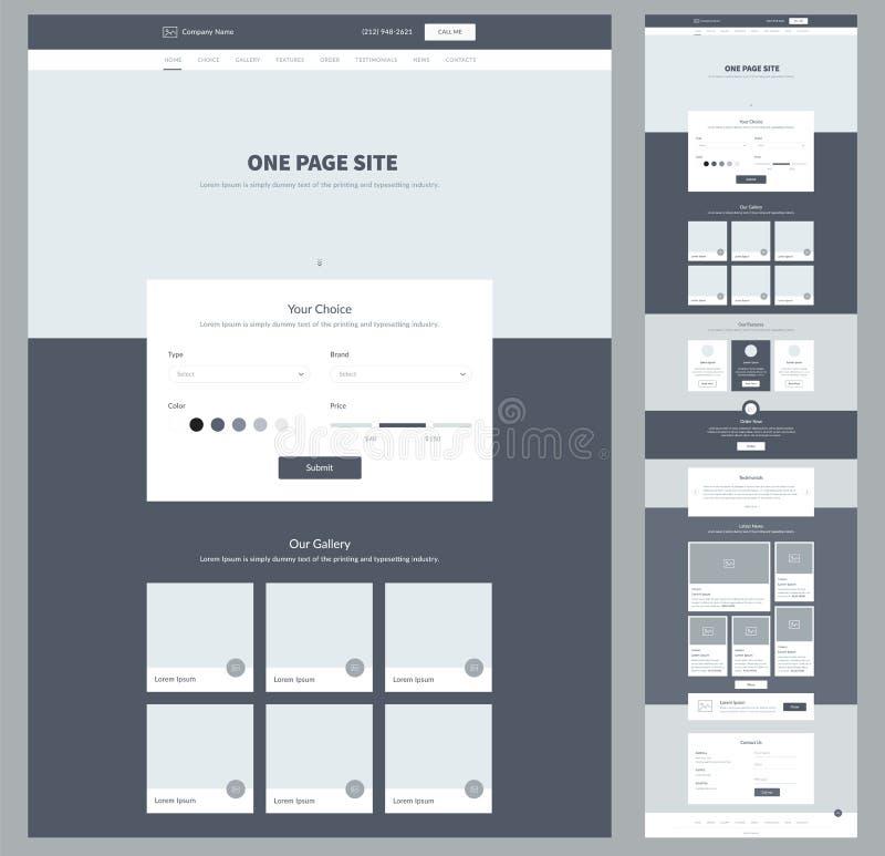Één het ontwerpmalplaatje van de paginawebsite voor uw zaken Landende Pagina Wireframe Het ontwerp van de Ux ui website Vlak mode stock illustratie