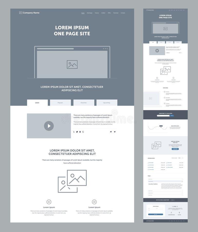 Één het ontwerpmalplaatje van de paginawebsite voor zaken Landende Pagina Wireframe Vlak modern ontvankelijk ontwerp Ux ui websit vector illustratie