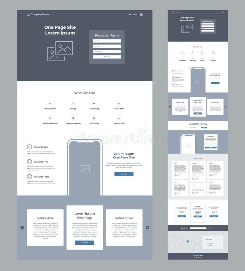 Één het ontwerpmalplaatje van de paginawebsite voor zaken Landende Pagina Wireframe Vlak modern ontvankelijk ontwerp UX UI vector illustratie