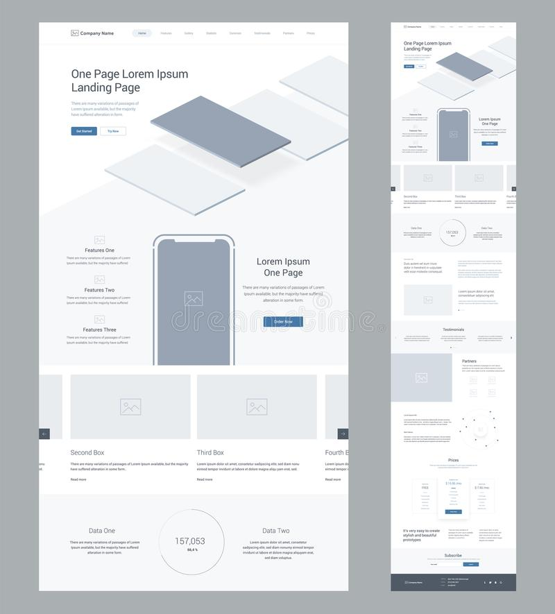 Één het ontwerpmalplaatje van de paginawebsite voor zaken Landende Pagina Wireframe Vlak modern ontvankelijk ontwerp Ux ui websit royalty-vrije illustratie