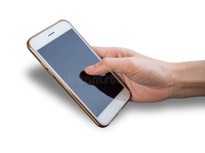 Één holding van de handpersoon en het gebruiken van smartphone stock afbeelding