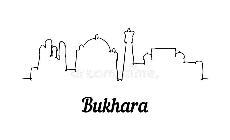 Één horizon van Boukhara van de lijnstijl Eenvoudige moderne minimalistic stijl vector illustratie