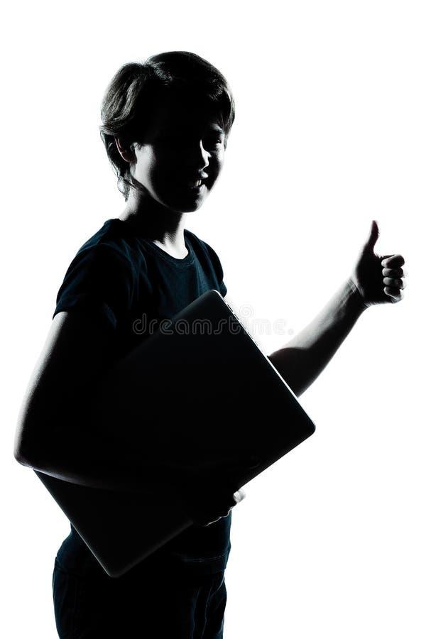 Één jonge van het het meisjessilhouet van de tienerjongen de holdings dragende laptop c royalty-vrije stock afbeelding