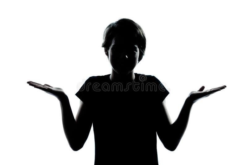 Één jonge van het tienerjongen of meisje sh silhouet onwetende aarzeling stock afbeeldingen
