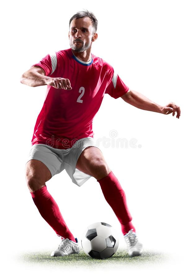 Één Kaukasische voetballermens die op witte achtergrond wordt geïsoleerd royalty-vrije stock foto's