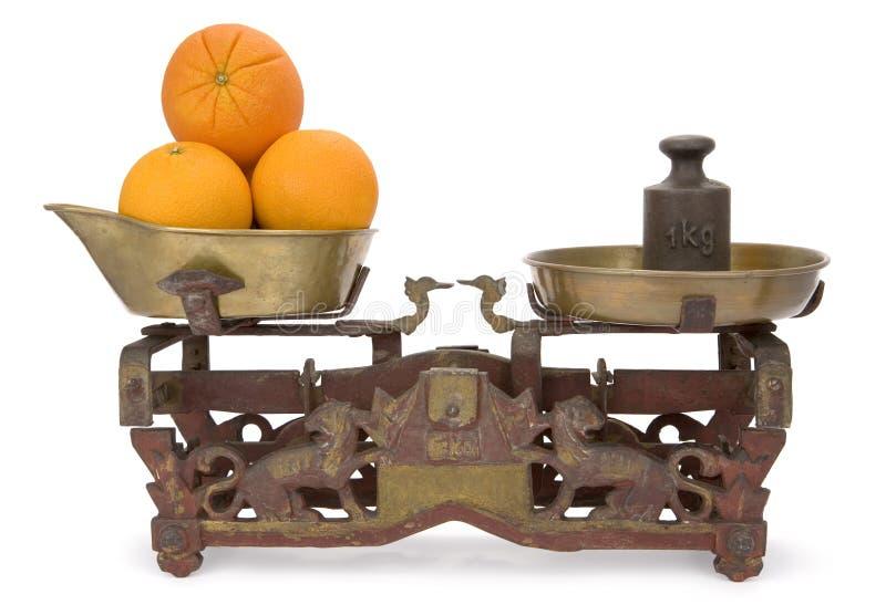 Één kilogramsinaasappelen stock afbeeldingen