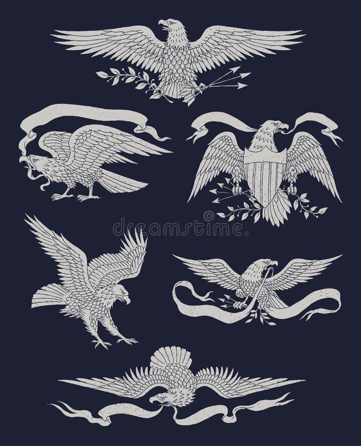 Één kleuren Indische schedel vectorillustrationhand Getrokken Uitstekend Eagle Vector Set vector illustratie