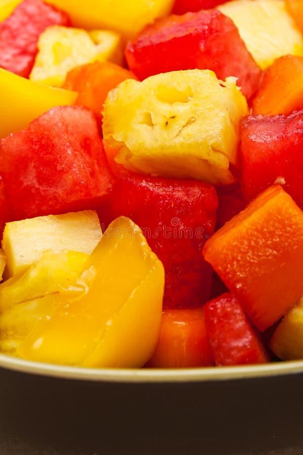 Één kom Gemengde tropische fruitsalade stock foto's