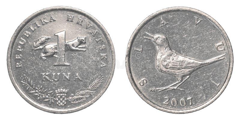 Één Kroatisch Kuna-muntstuk stock fotografie