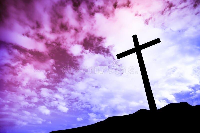 Één kruis op een heuvel stock fotografie