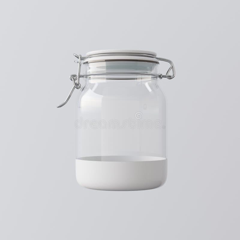 Één Lege Transparante Glaskruik sloot Ceramisch GLB Geïsoleerd Gray Background Schoon Glazig Klaar Containersmodel royalty-vrije illustratie