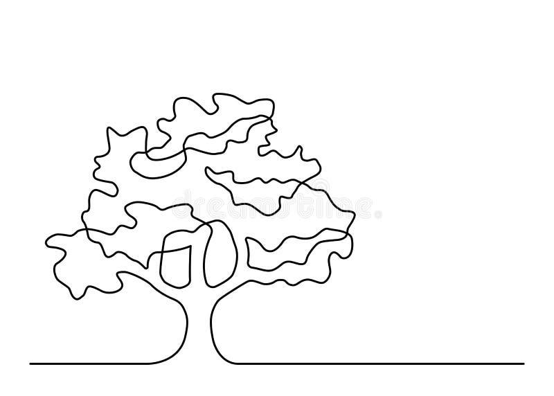 Één lijnboom 4 stock illustratie