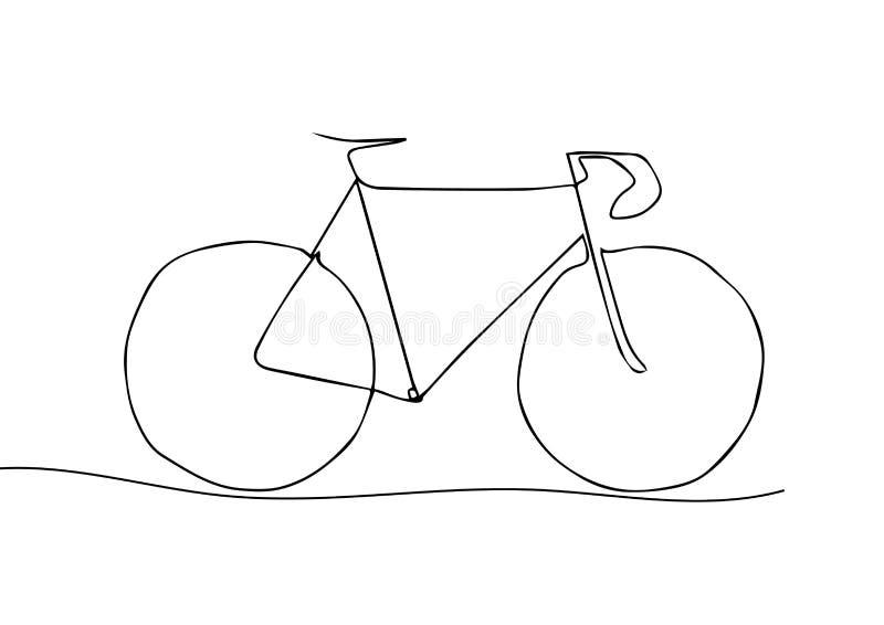 Één Lijntekening of Ononderbroken Lijnkunst van een Fietsatleet vector illustratie