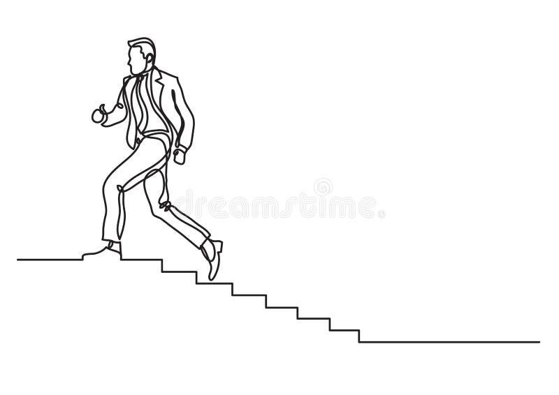 Één lijntekening van de mens die carrièreladder beklimmen stock illustratie