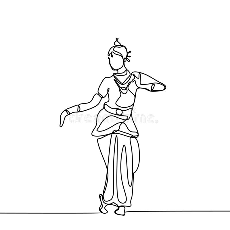 Één lijntekening van een javanese, Indische of Arabische traditionele die danser op witte achtergrond wordt geïsoleerd royalty-vrije illustratie
