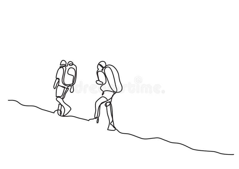 Één lijntekening van reizigers het lopen royalty-vrije illustratie