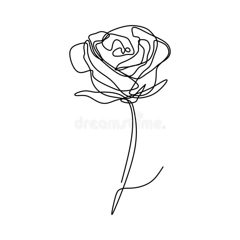 Één lijntekening van roze bloemvector stock illustratie