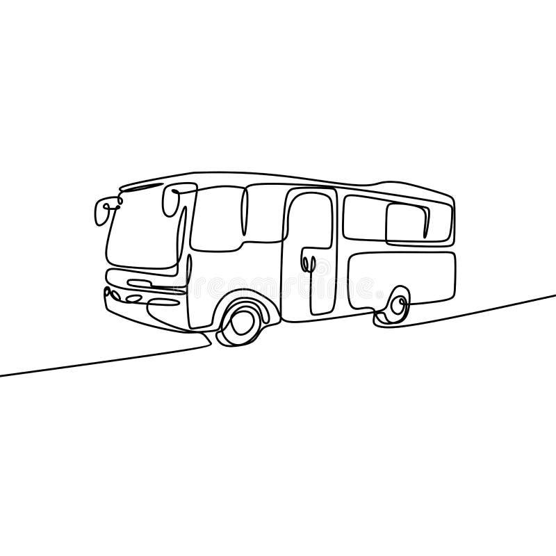 Één lijntekening van schoolbus Enige ononderbroken lijntekening terug naar de vectorillustratie van het schoolconcept vector illustratie