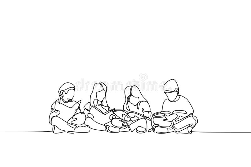 Één lijntekening van tiener ononderbroken de jonge geitjes en de kinderenonderwijsthema van het lineartontwerp royalty-vrije illustratie