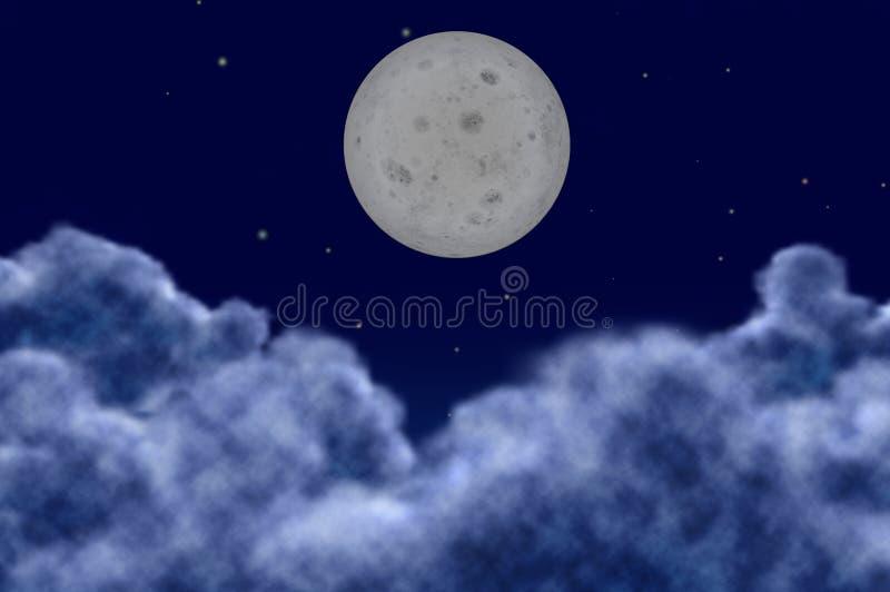 Één maanplaneet op een hemelonduidelijk beeld foregrounds stock illustratie