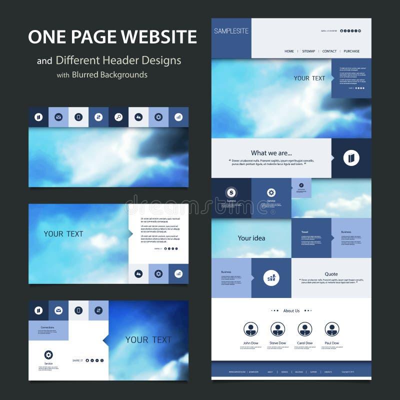 Één Malplaatje van de Paginawebsite en Verschillende Kopbalontwerpen met Vage Achtergronden royalty-vrije illustratie