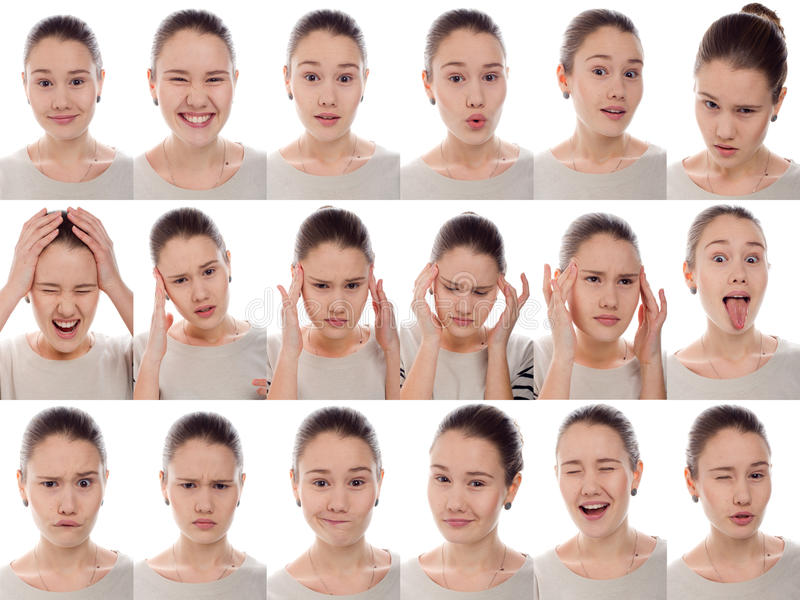 Één meisje - vele emoties stock fotografie