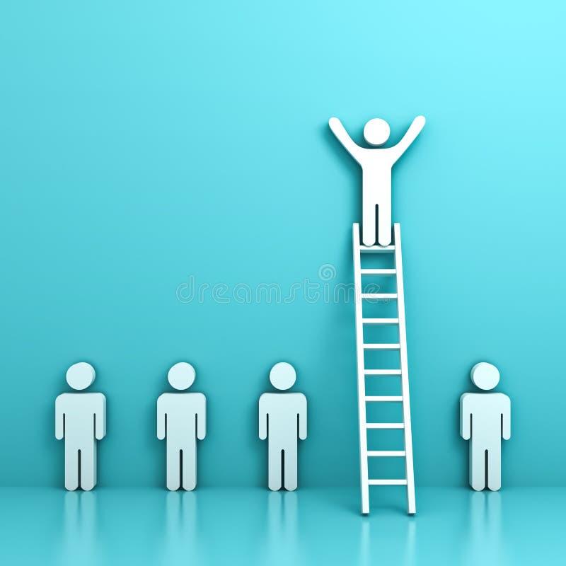 Één mens die zich met wapens brede open bevinden bovenop ladder boven andere mensen stock illustratie