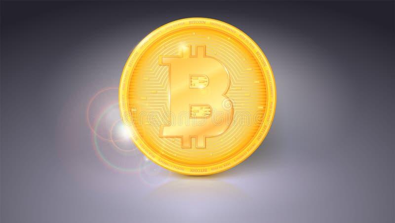 Één muntstuk van Bitcoin Gouden symbool van de digitale munt op horizontale grijze achtergrond Virtueel geld van de toekomst stock illustratie