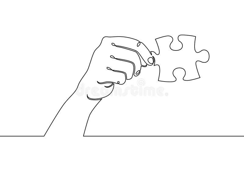 Één ononderbroken getrokken enig raadsel van de de handholding van de handpalm stock illustratie
