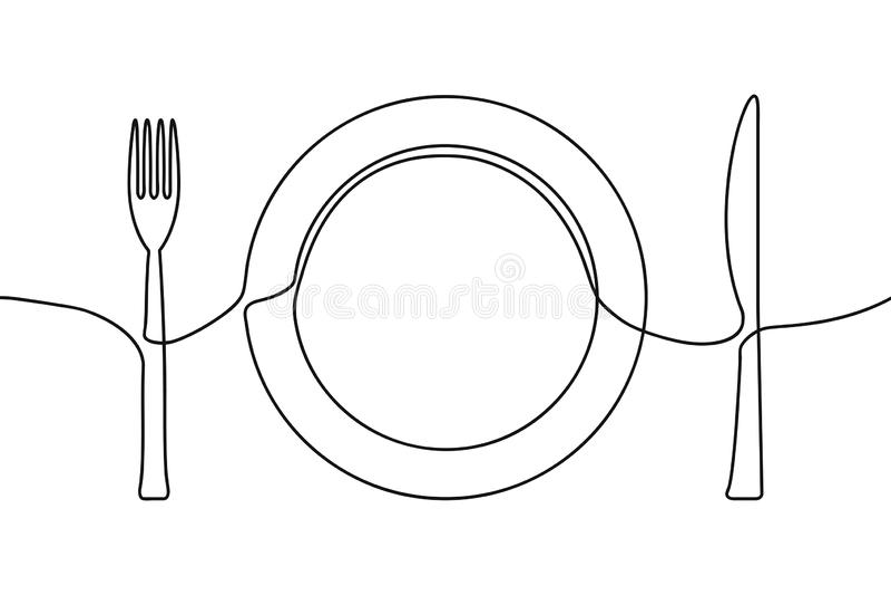 Één ononderbroken lijnillustratie van plaat, mes en vork vector illustratie