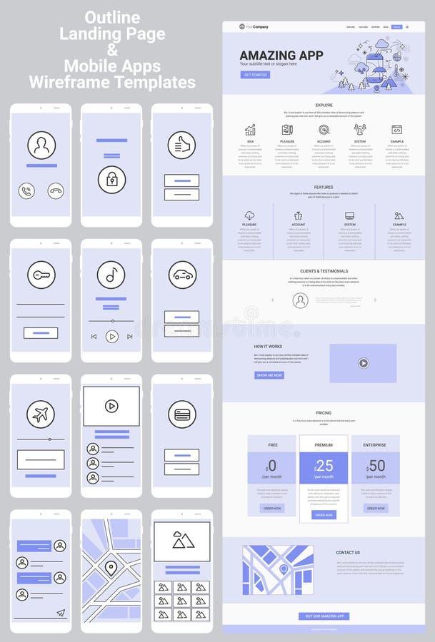 Één Paginawebsite en de Mobiele Uitrusting van Apps Wireframe vector illustratie