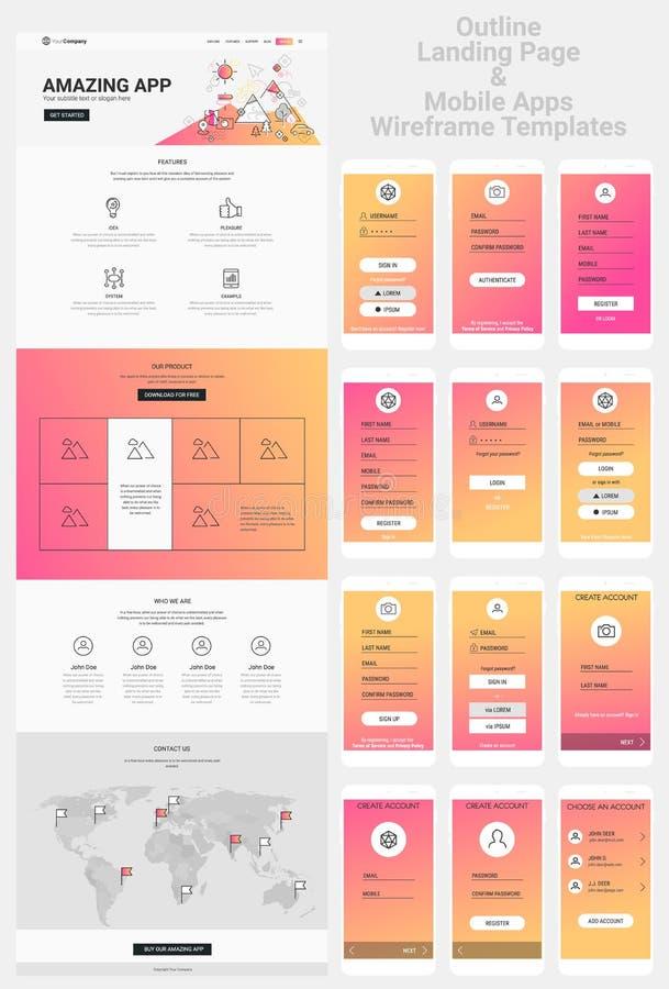 Één Paginawebsite en de Mobiele Uitrusting van Apps Wireframe royalty-vrije illustratie
