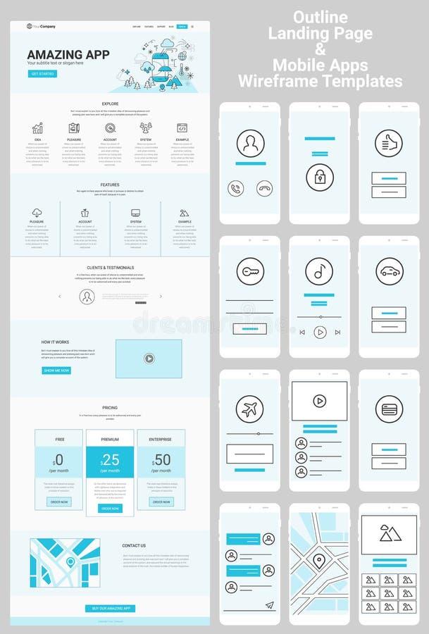 Één Paginawebsite en de Mobiele Uitrusting van Apps Wireframe stock illustratie