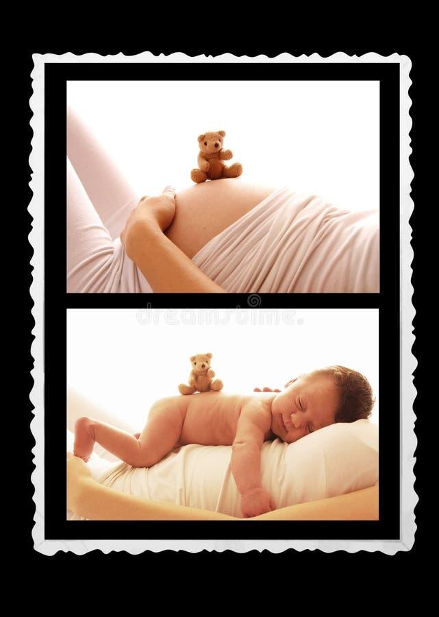 Één pasgeboren baby en zwangere vrouwenbuik royalty-vrije stock foto's