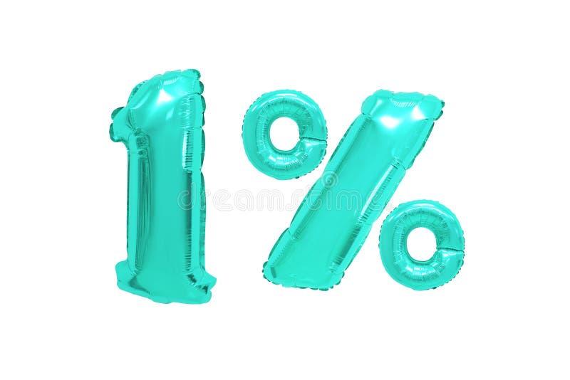 Één percent van ballons turkooise kleur royalty-vrije stock foto's