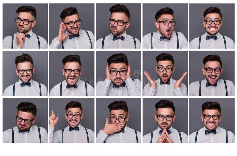 Één persoon met verschillende emoties stock fotografie