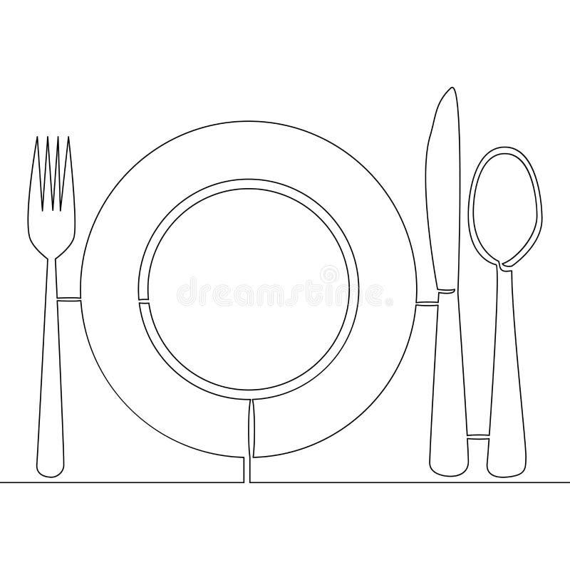 Één plaat, de lepel, khife en de vork van de lijntekening stock illustratie