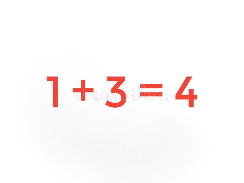 Één plus drie is gelijk aan vier wiskunde stock illustratie