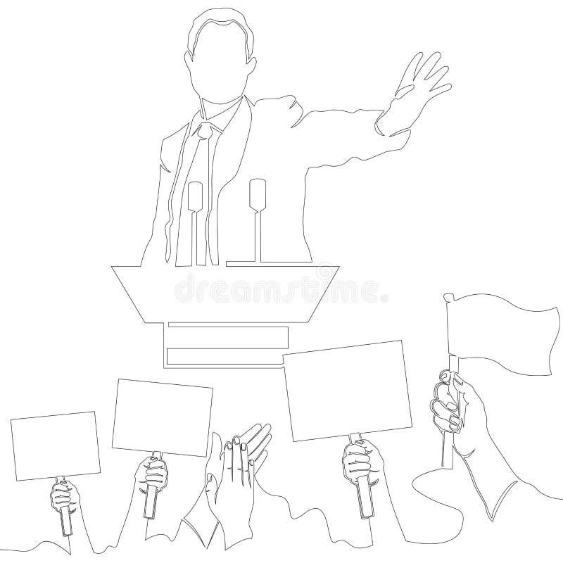 Één Politiek de vergaderingsconcept van de lijntekening stock illustratie