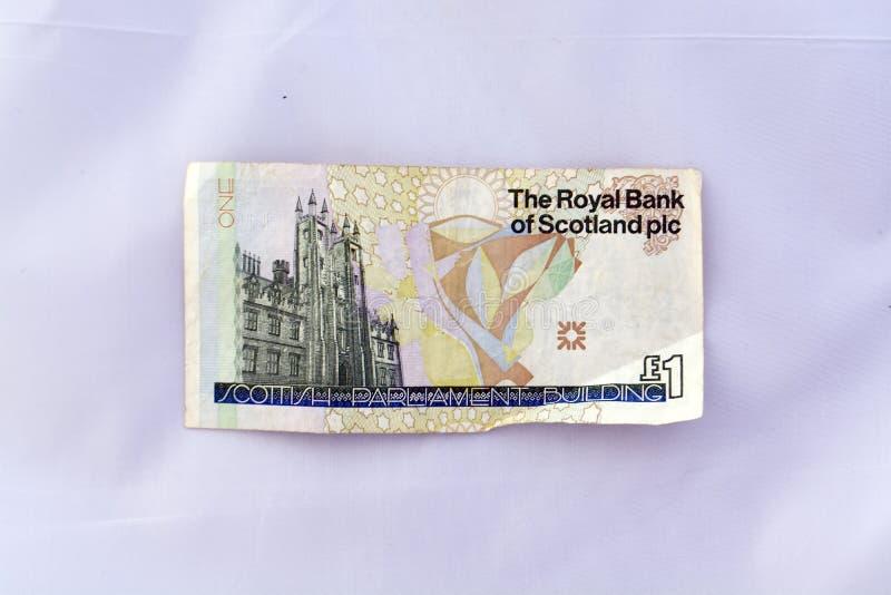 Één pondnota (echte munt) royalty-vrije stock fotografie