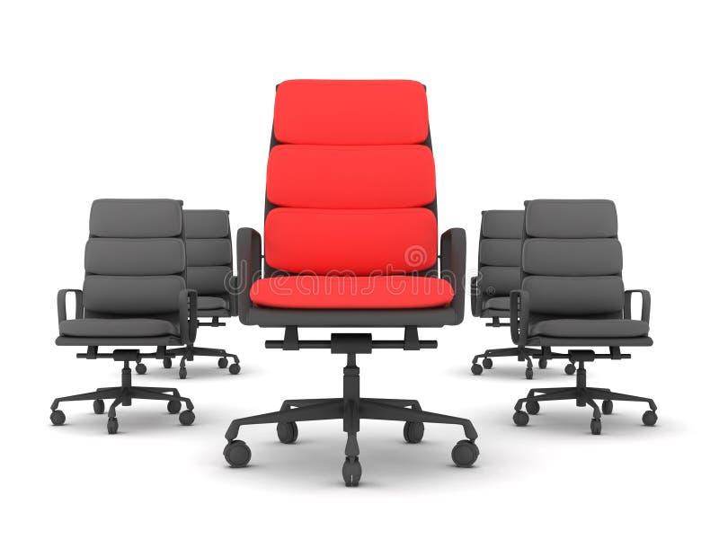 Één rode en vier zwarte stoelen royalty-vrije illustratie